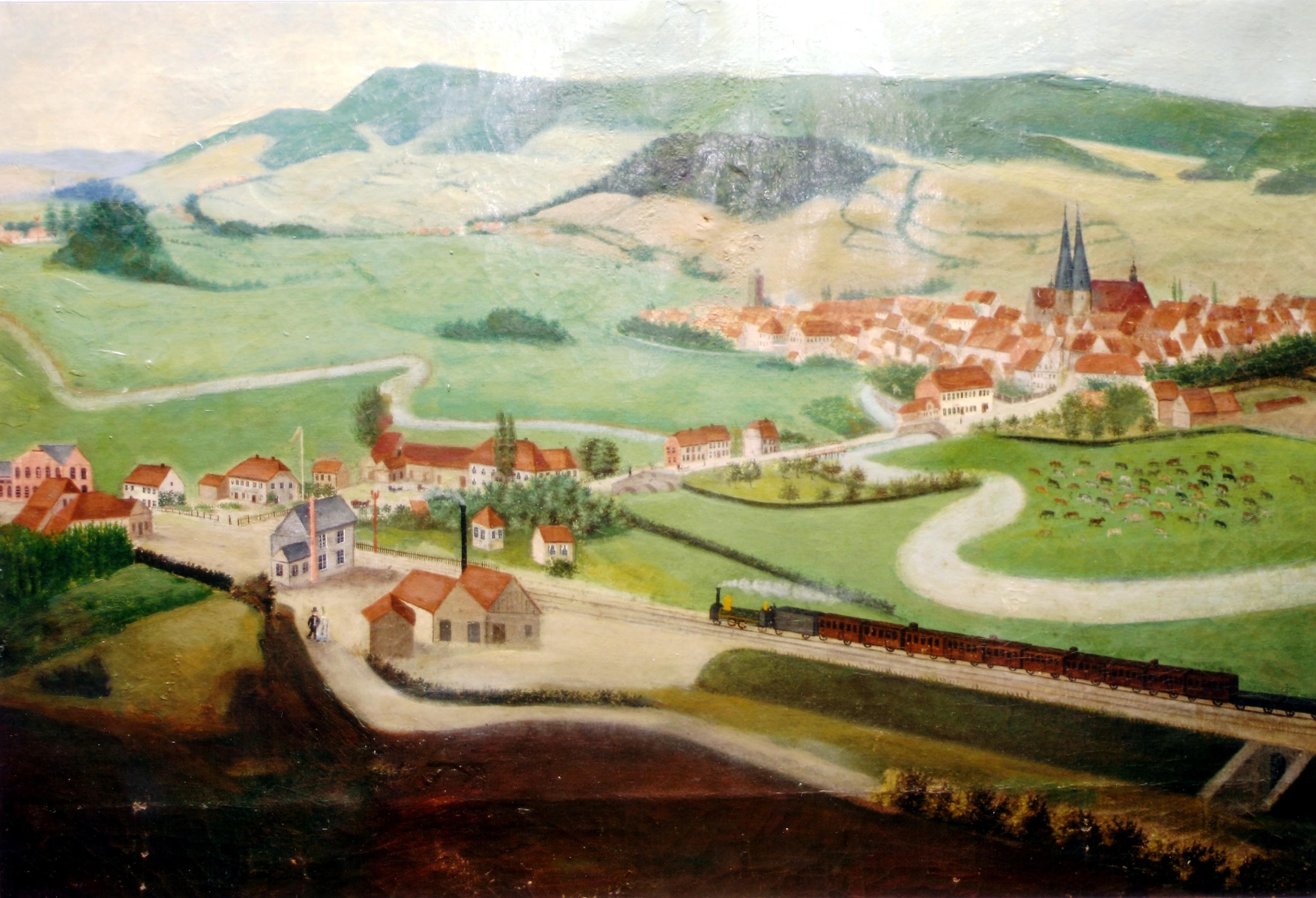 Blick vom Schlehberg auf Alfeld in den 1850er Jahren