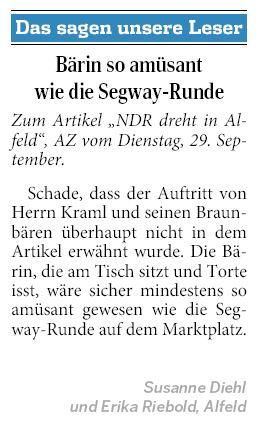 AZ vom 01.10.2015-Leserbrief-alt-alfeld-NDR-Dreh MeinNachmittag Kraml