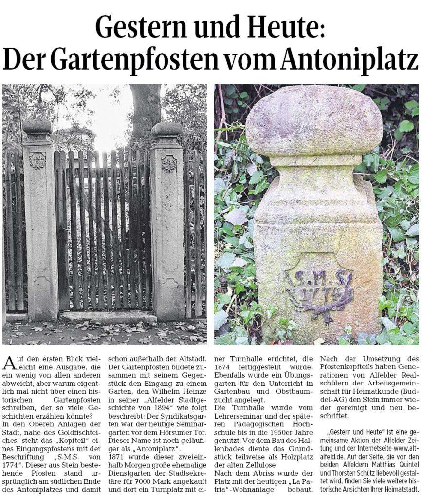 AZ vom 02.06.2016-gestern+heute-Gartenpfosten Antoniplatz