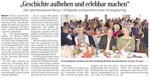 AZ vom 07.10.2015-Hörsum-alt-alfeld Vortrag Jubiläum Heimatverein