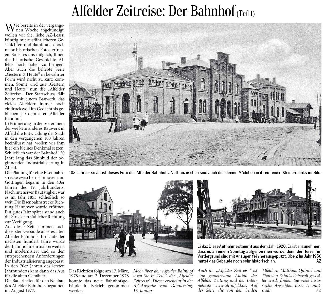 AZ vom 09.01.2014-Alfelder Zeitreise-Der Bahnhof Teil 1