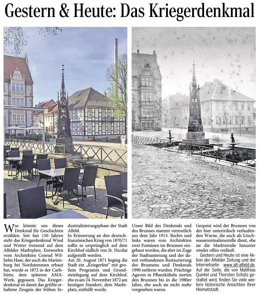AZ vom 23.04.2015-gestern+heute-Kriegerdenkmal Marktplatz