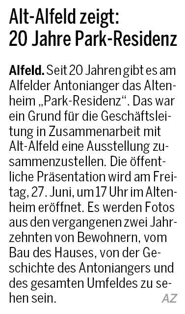 AZ vom 24.06.2014-alt-alfeld-Ausstellungseröffnung Park Residenz