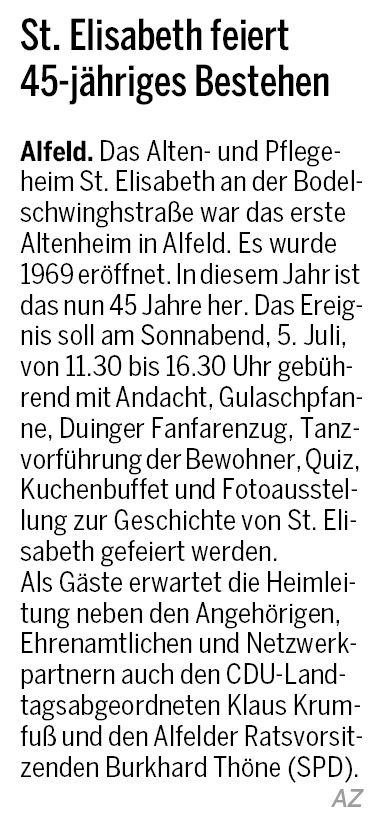 AZ vom 25.06.2014-Altenheim St. Elisabeth-45 jähriges Bestehen