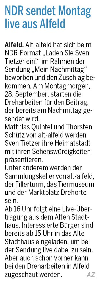 AZ vom 26.09.2015-alt-alfeld-NDR-Dreh MeinNachmittag-Tietzer kommt