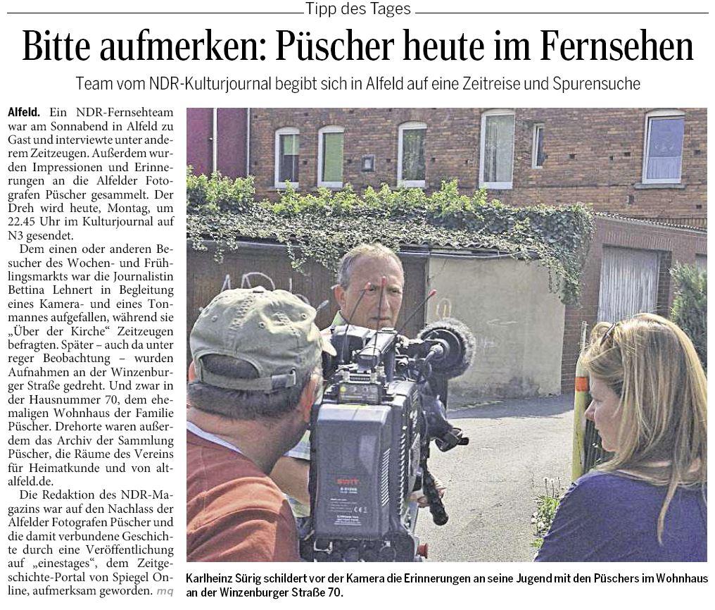AZ vom 28.04.2014-VfH-Püscher-Püscher im NDR-Kulturjournal