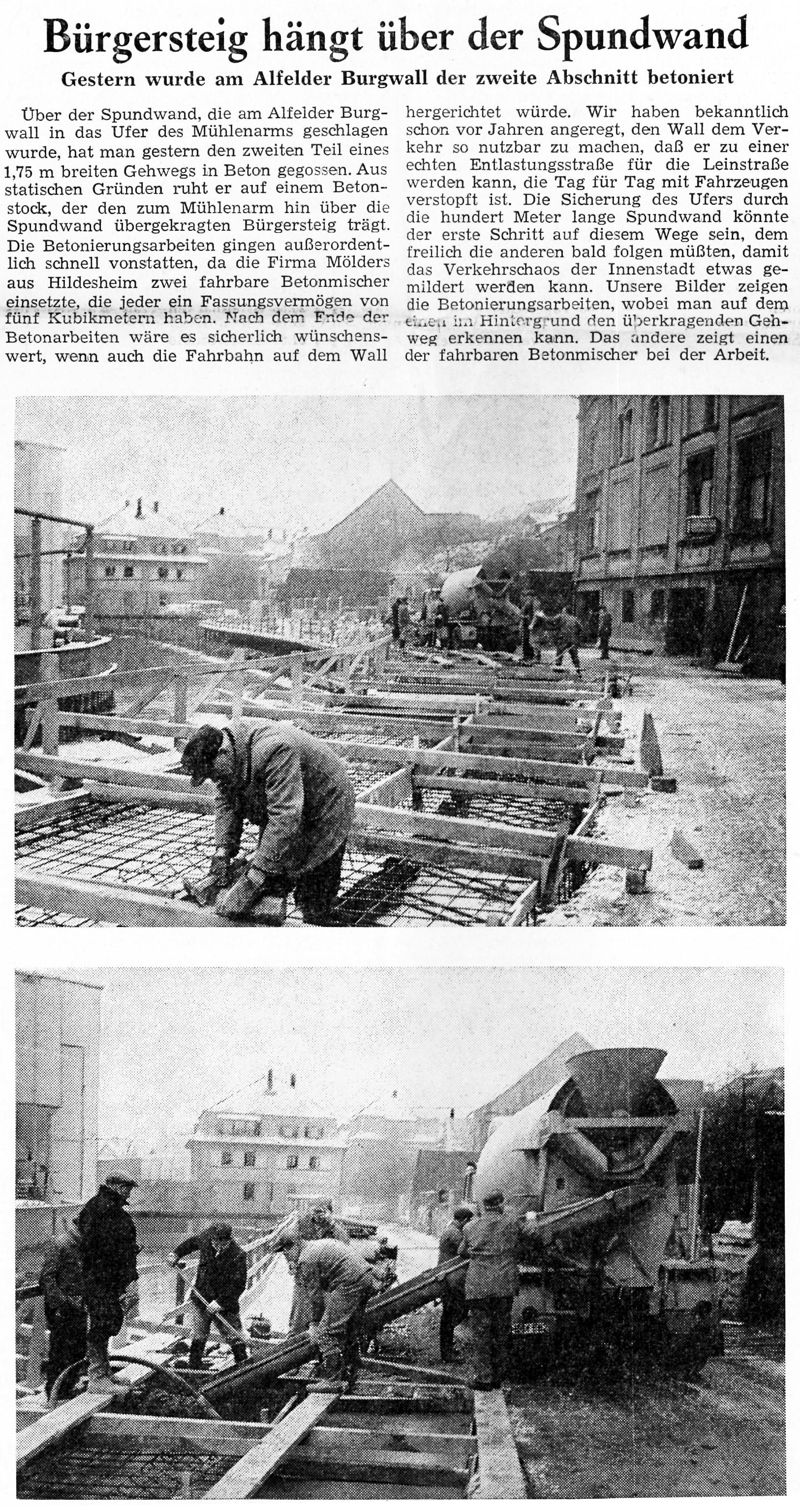 AZ vom 29.01.1965-Perkwall-Bau Bürgersteig Spundwand