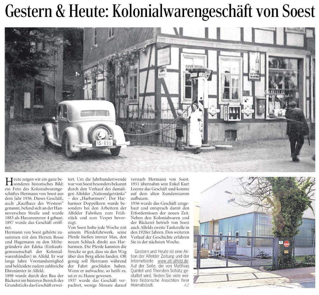 AZ vom 29.10.2015-gestern+heute-Kolonialwarengeschäft von Soest