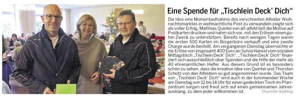 AZ vom 29.12.2014-alt-alfeld-Spendenübergabe Tischlein Deck Dich